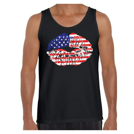 Faceplate Design Blue Star (Awkward Styles American Flag Men's Tank Tops Lips Tanks for Men USA Flag Stars and Stripes Lips Tops Red White & Blue Lips Tanktop 4th of July Gift Independence Day Party Outfit for Men )