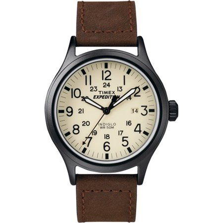 Timex Mens Expedition Scout Brown Leather Strap Watch T49963