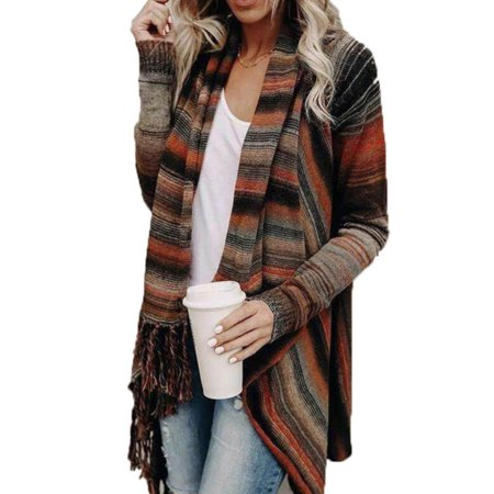 - Womens Tassel Long Sleeve Jumper Sweater Cardigan Fringe Shawl Tops Wrapped Coat