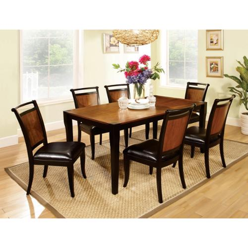 Saldi Acacia Wood/ Black 7 Piece Dining Set