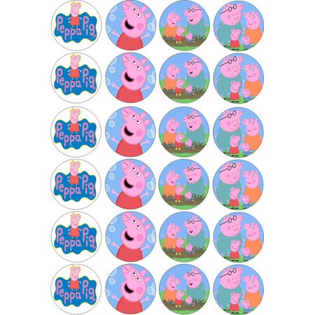24 PEPPA PIG EDIBLE PAPER CUPCAKE CUP CAKE DECORATION IMAGE TOPPERS
