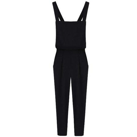 Cotton Solid Pockets Zipper - CHLTRA Women's Comfy High Waist Side Zipper Solid Color Sleeveless Harem Jumpsuits with Pockets