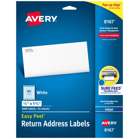 Presents Address Labels - Avery Easy Peel Return Address Labels, Sure Feed™Technology, Permanent Adhesive, 1/2