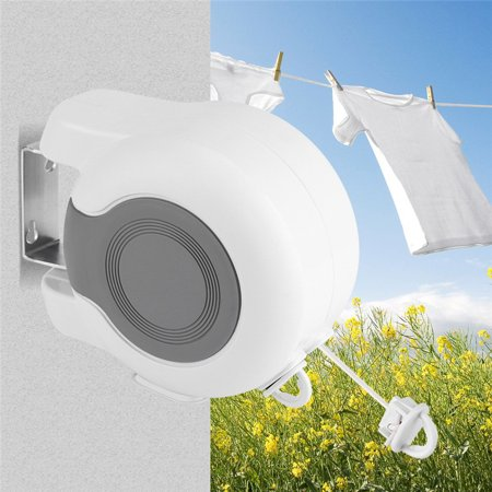 Drying Clothes Clothesline - Anauto 2 Line Retractable Clothesline, 13m Wall-Mounted Retractable Double Clothes Drying Line Indoor Outdoor Washing Hanging Laundry Tool