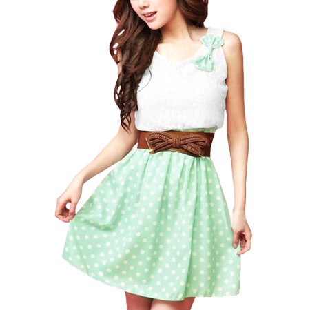 Women's Color Block Panel Belted Dress Green (Size S / - Dress Color Block