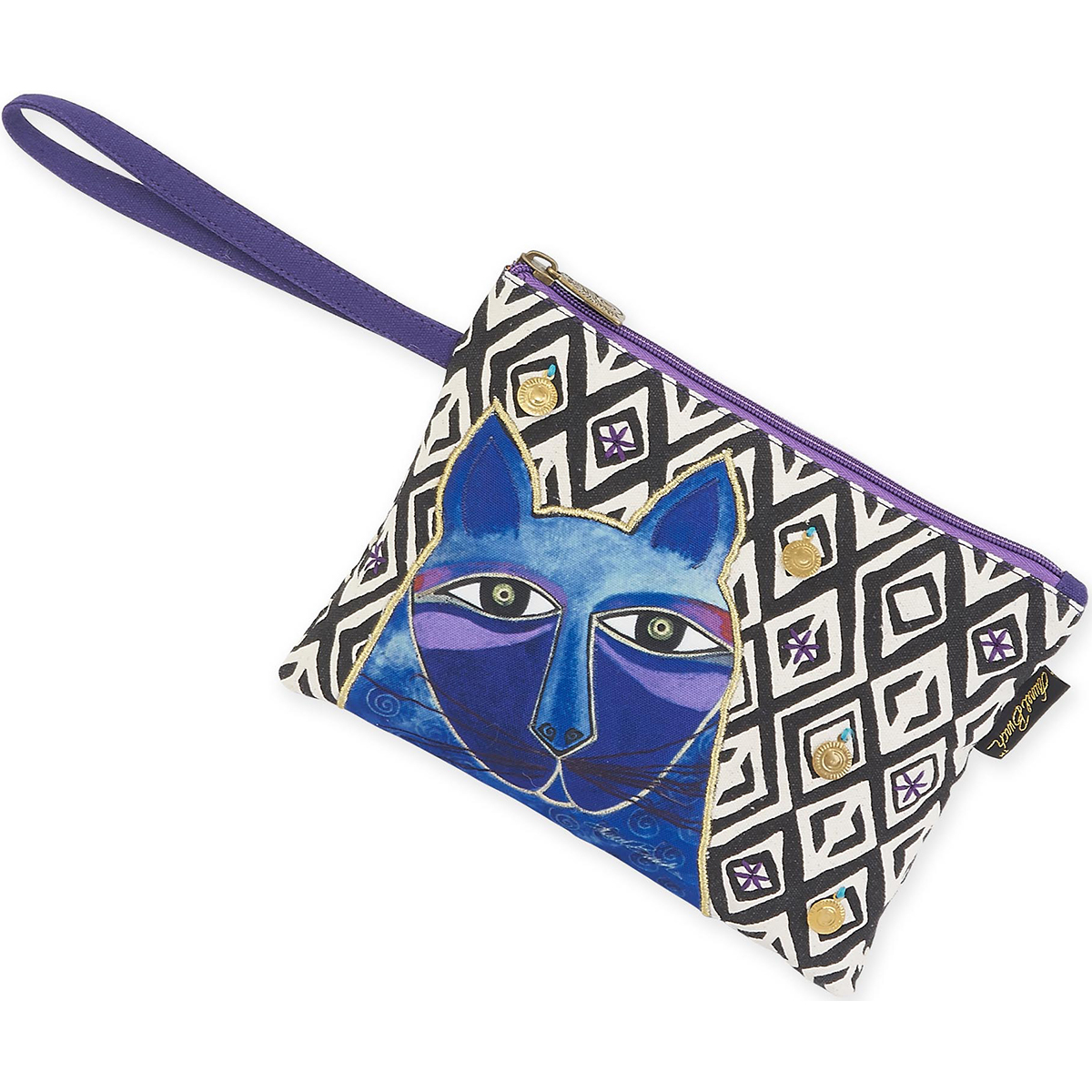"Wristlet 10""X7""-Whiskered Cats - Blue"
