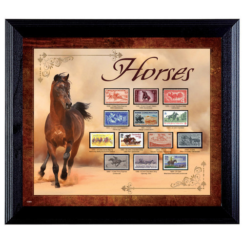 American Coin Treasures Horses on Stamps Framed Memorabilia