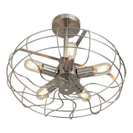 Ozzy Vintage Industrial Ceiling Fan Light In Satin Nickel