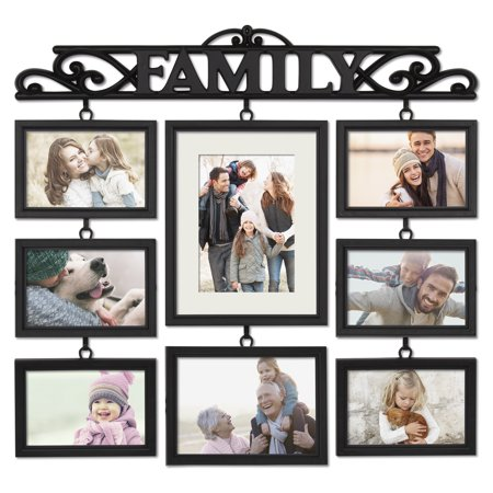 Mainstays 8 Opening Family Collage Photo Frame Black