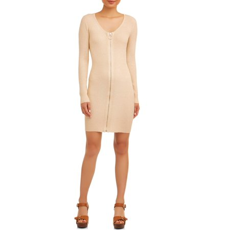 No Boundaries Juniors' Scoop Zip Long-Sleeve Dress