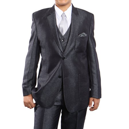 Notch Lapel Suit (Boys Suit Five Piece Modern Fit Texture Solid Notch Lapel Suit With Vest, Shirt and Tie )