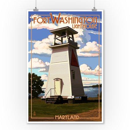 Maryland Lighthouses - Fort Washington Lighthouse - Maryland - Lantern Press Poster (9x12 Art Print, Wall Decor Travel Poster)