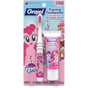 Orajel My Little Pony Fluoride-Free Training Toothpaste & Toothbrush Combo Pack, Pinkie Fruity, 1 oz.