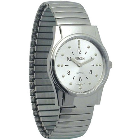 Mens Braille Watch -Chrome, Exp. Band (Braille Watch)