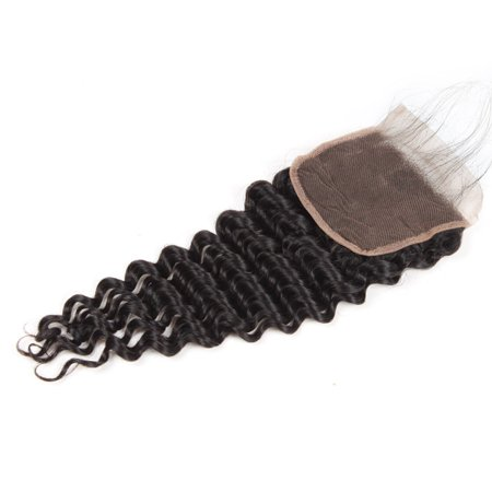Weave Lace - Allove 7A Brazilian Deep Wave Virgin Hair 4*4 Lace Closure with Baby Hair Free Part 1 Bundle, 16