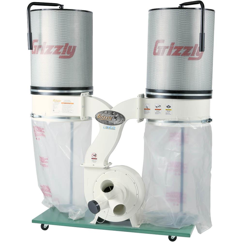 Grizzly G0562ZP 3HP Double Canister Dust Collector with Aluminum Impeller Polar Bear Series by