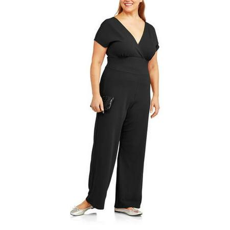 Glamour & Co. - Women\'s Plus-Size Crossover Jumpsuit - Walmart.com