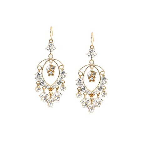 Gold Crystal Eye Shaped Stones and Crystal Stones in Circle and Diamond Shape Dangle Wire Earrings