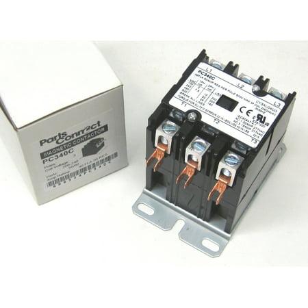 Contactor Three 3 Pole 40 Amps 240 Volts HVAC Parts