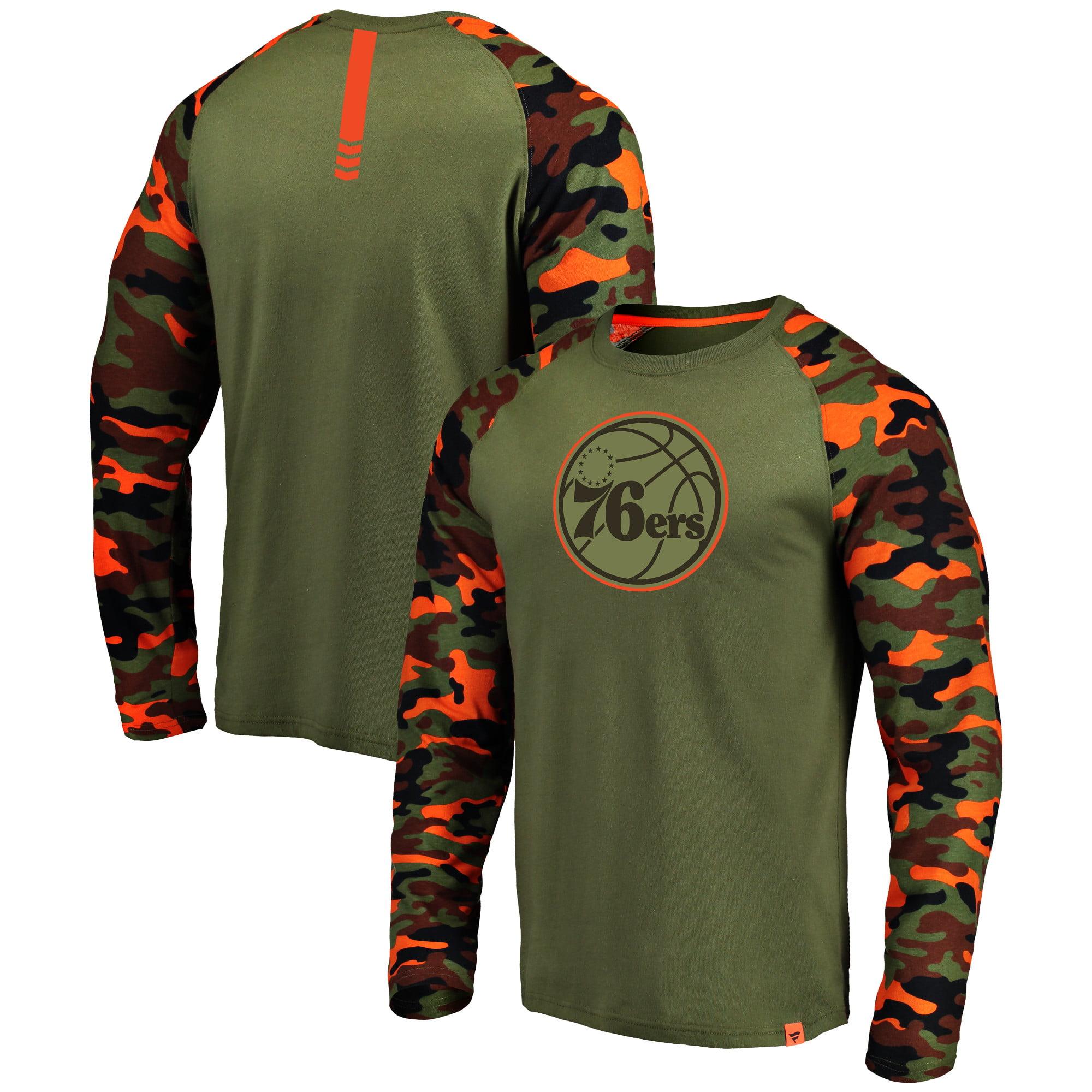 Philadelphia 76ers Fanatics Branded Recon Camo Raglan Long Sleeve T-Shirt - Olive/Camo