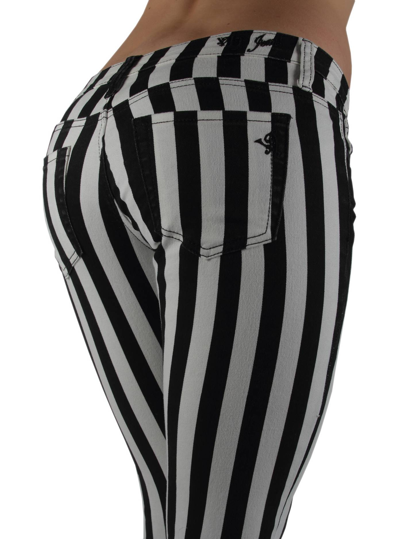 6065 - Black & White Striped 5 Pockets Classic Skinny Jeans