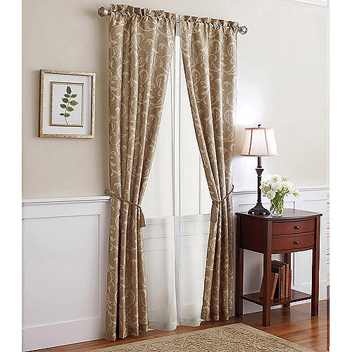 Better Homes and Gardens 6pc Window Set in Scroll-Printed Faux Silk with Sheer