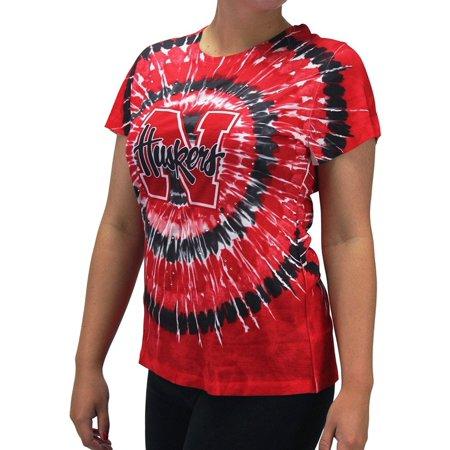 Women' s Nebraska NE Huskers Tie Dye Bling Gem T Shirt, (Nebraska Huskers Acrylic)
