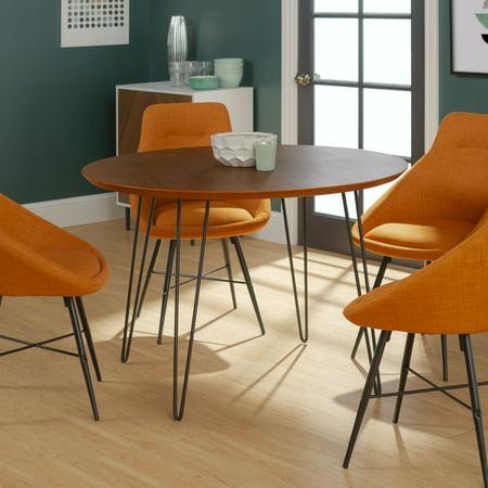 manor park 5 piece mid century modern wood round dining table set. Black Bedroom Furniture Sets. Home Design Ideas