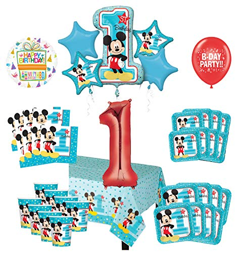 Mickey Mouse 1st Birthday Party Decorations (Mayflower Products Mickey Mouse 1st Birthday Party Supplies 8 Guest Decoration Kit and Balloon)