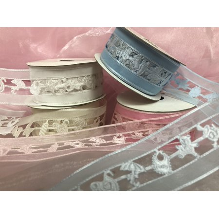 Charmed Baby Shower Organza Ribbon with Baby Stuff Cut-outs; 1 1/2
