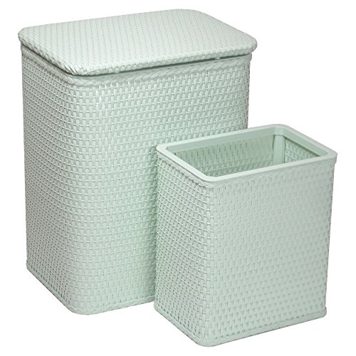 Chelsea Pattern Wicker Nursery Hamper and Matching Wastebasket Set, Herbal Green