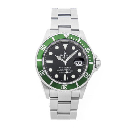 "Pre-Owned Rolex Submariner ""Kermit"" 16610LV Watch (2-Year WatchBox warranty)"
