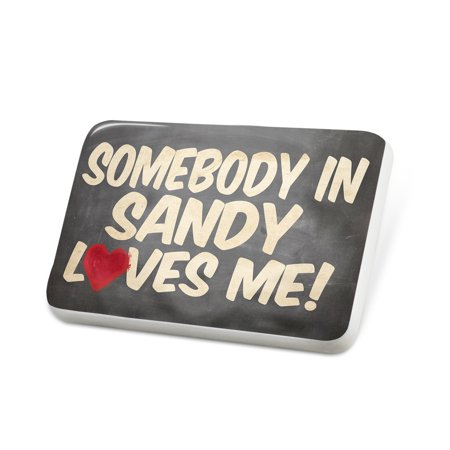 Porcelein Pin Somebody in Sandy Loves me, Utah Lapel Badge – NEONBLOND for $<!---->