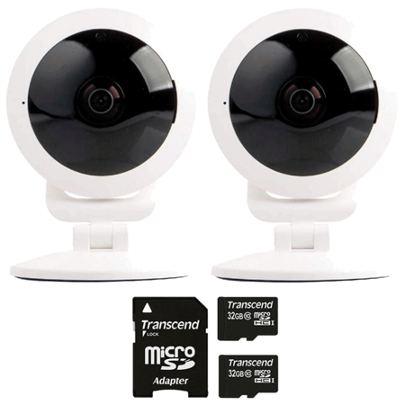 Two Vivitar IPC-117 Smart Security High Definition Capture Cameras with Two 32GB MicroSD Memory