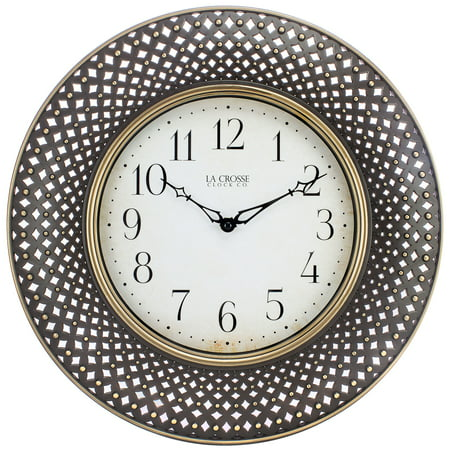 - La Crosse Clock BBB86507 16 Inch Antiqued Brown Lattice Round Analog Wall Clock