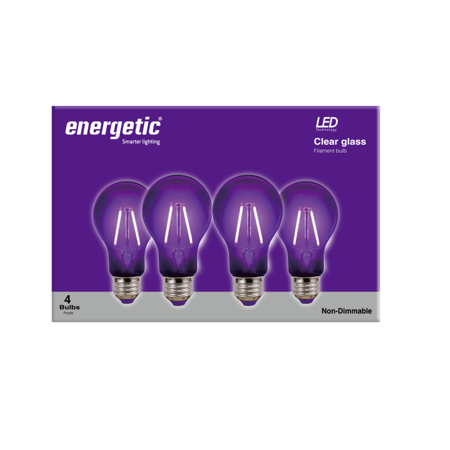 Energetic LED Color Filament Light Bulbs, 2W, Purple, A19 Shape, E26 Base, UL Listed, 4-count