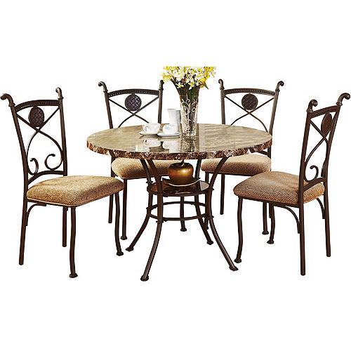Faux Marble and Metal 5-Piece Dining Set, Brown