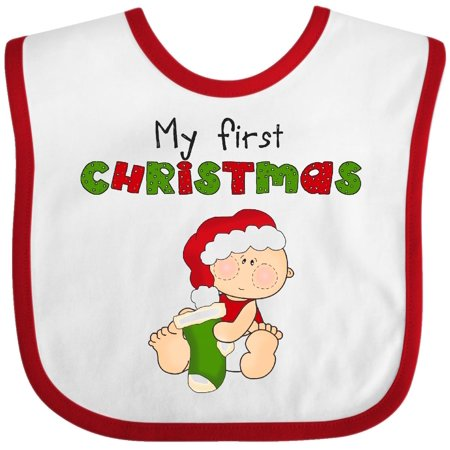 Inktastic My First Christmas Baby Bib 1st Stocking Green Gift Clothing Infant