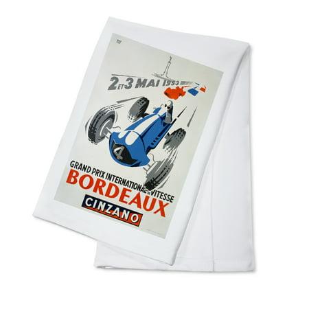 France - Grand Prix - Bordeaux - (artist: Roy) c. 1953) - Vintage Advertisement (100% Cotton Kitchen Towel)