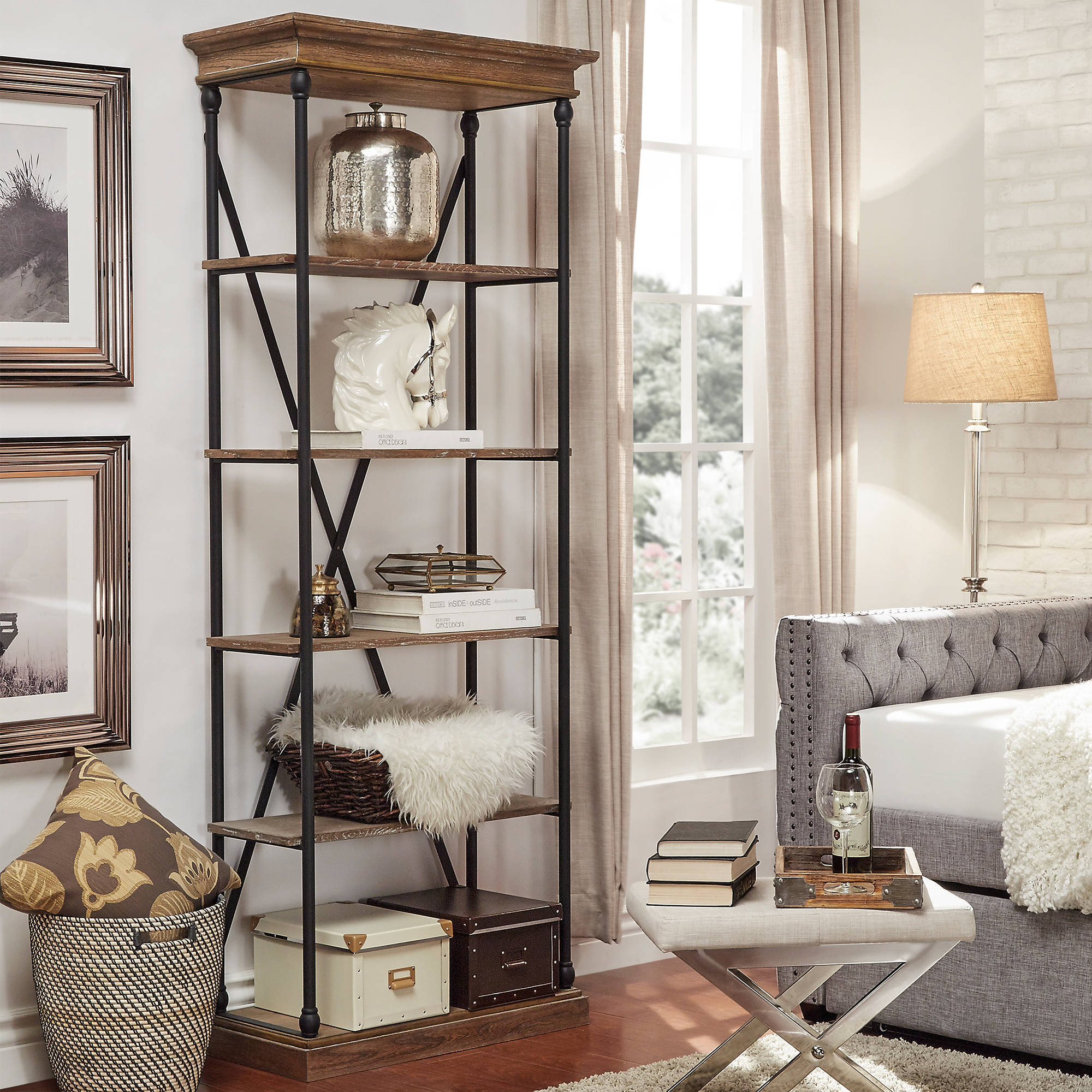 "Chelsea Lane 33""W Bookcase, Brown"