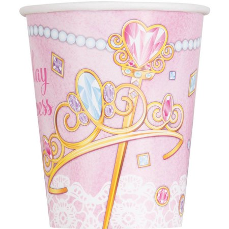 9oz Paper Jeweled Pink Princess Cups, 8ct](Princess Cups)