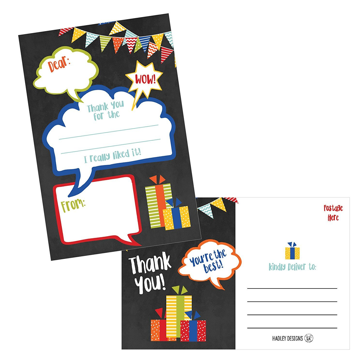25 Chalkboard Kids Thank You Cards Fill In Thank You Notes For Kid