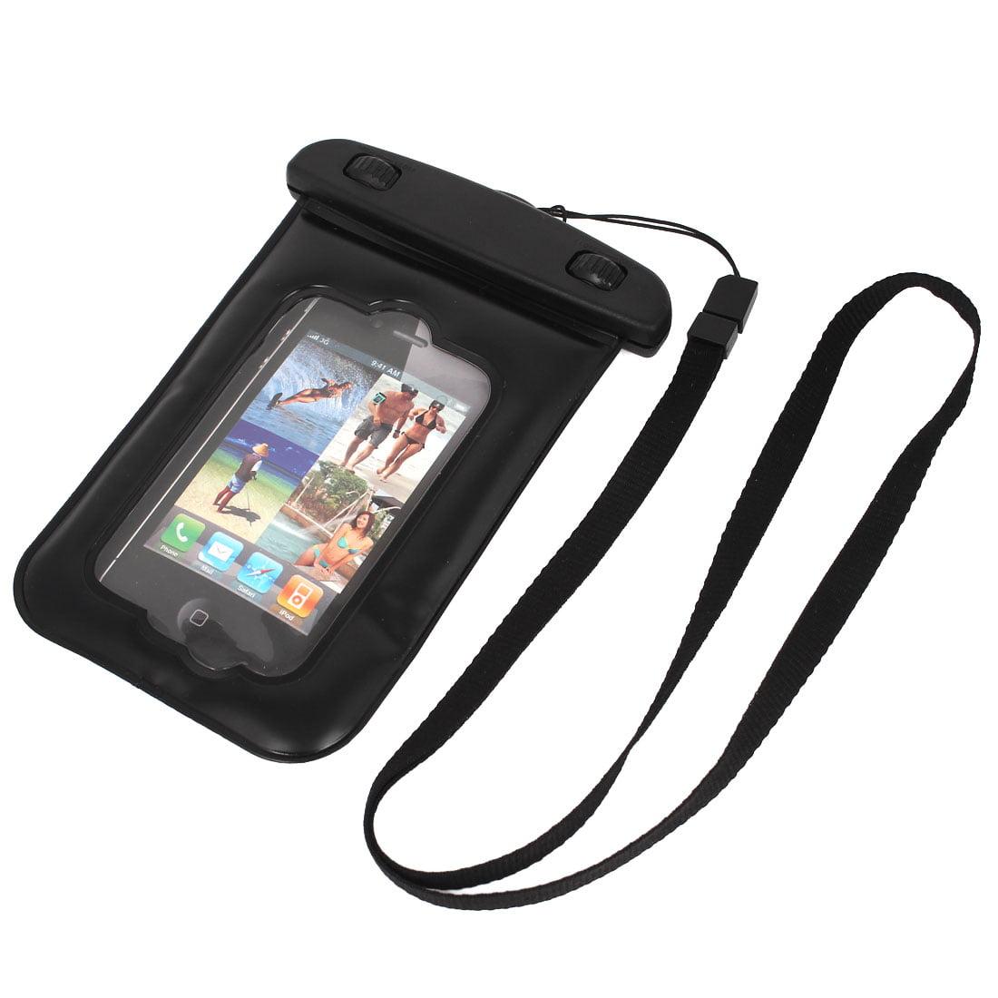 Unique Bargains Waterproof Bag Holder Pouch Case Black for iPhone 4/4S w Neck Strap