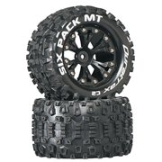 """Duratrax Six Pack MT 2.8"""" RC Monster Truck Tires with Foam Inserts, C2 Soft Compound, Mounted on Rear Black Wheels Set of 2"""