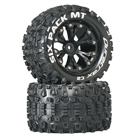 "Duratrax Six Pack MT 2.8"" RC Monster Truck Tires with Foam Inserts, C2 Soft Compound, Mounted on Rear Black Wheels Set of 2"