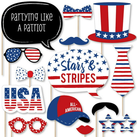 Stars & Stripes - Memorial Day USA Patriotic Party Photo Booth Props Kit - 20 Count - Party In Usa