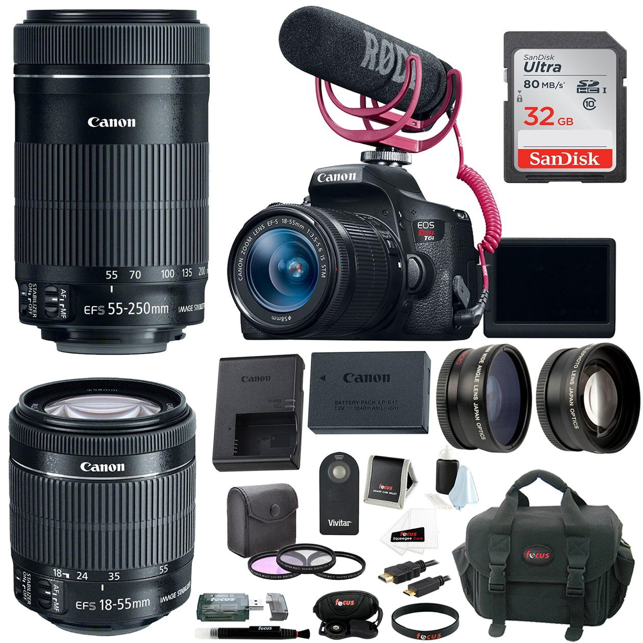 Canon EOS Rebel T6i DSLR Video Creator Kit with 18-55mm & 55-250mm Lenses plus 32GB SDHC Accessory Bundle