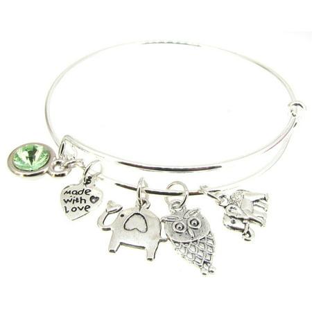 Bracelet Silver Plate Expandable Bangle Elephants Faux Peridot Owl Heart