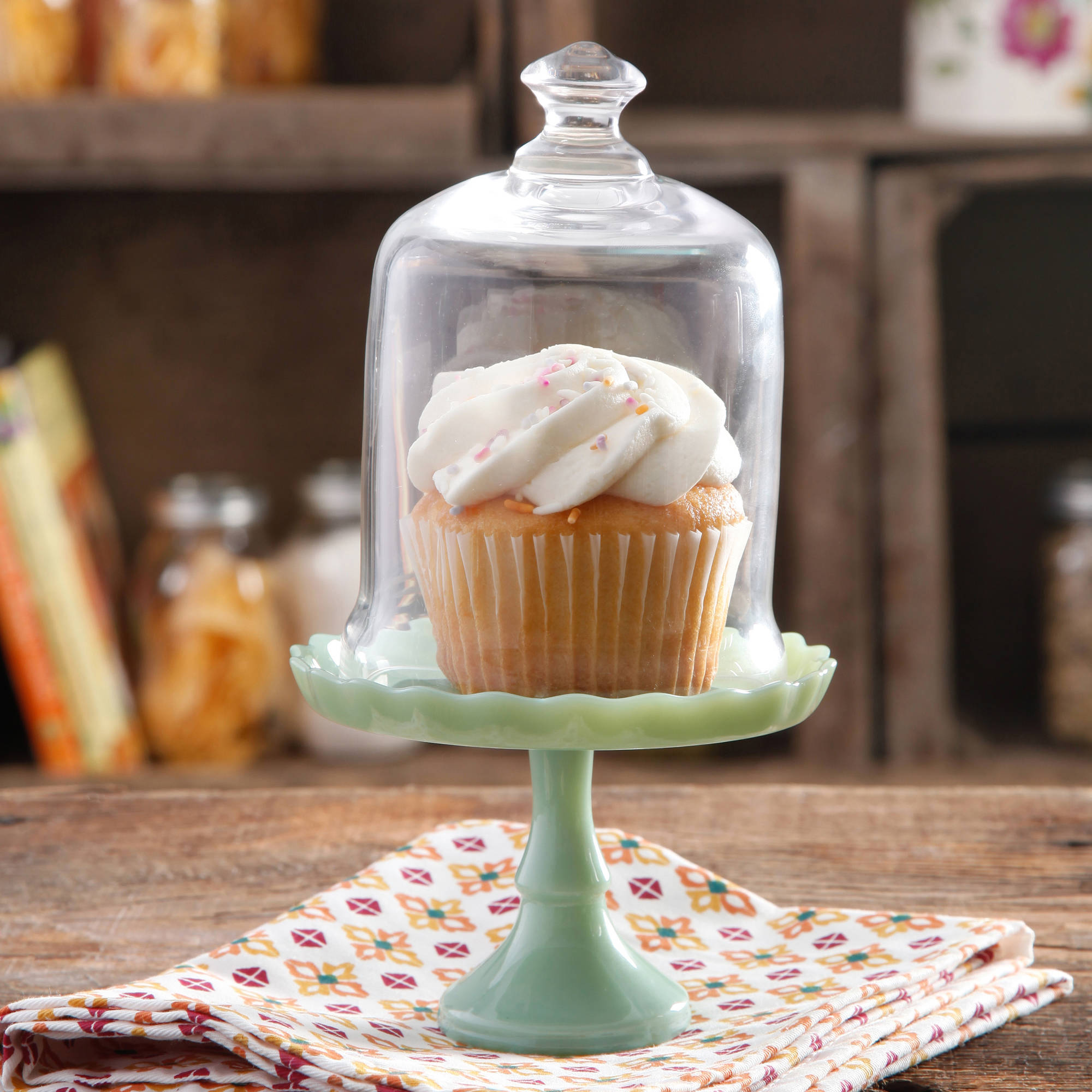 The Pioneer Woman Flea Market Mini Floral Cupcake Stand with Lid