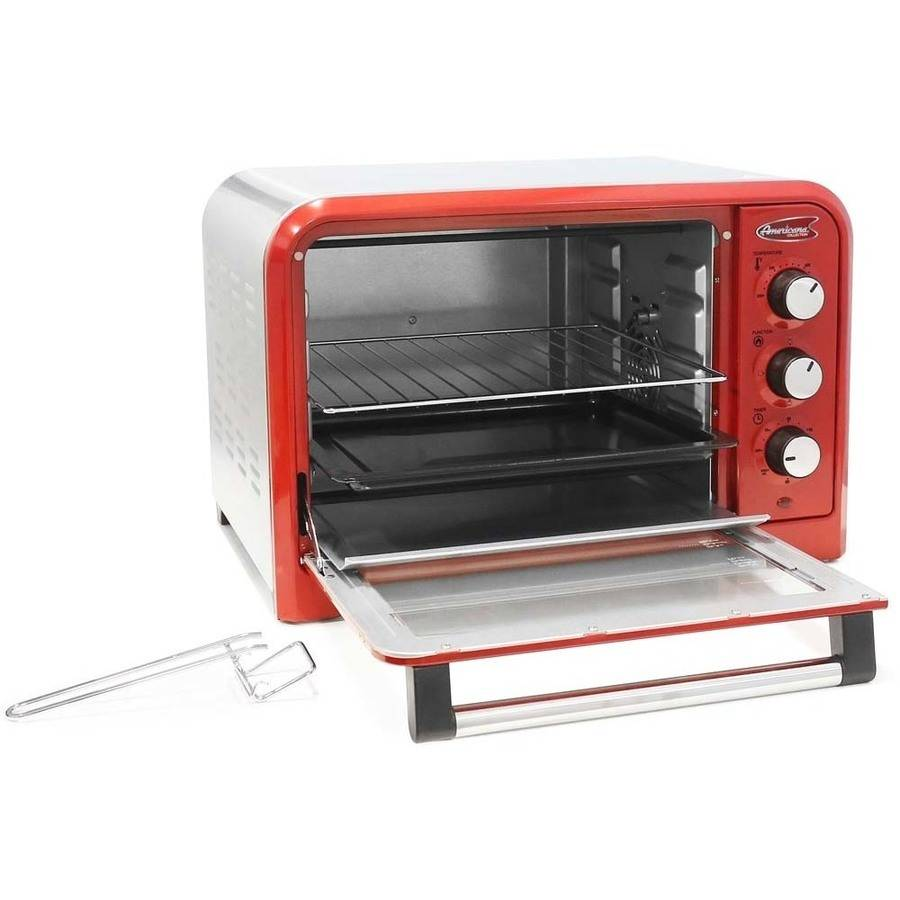 Americana ERO-2600R by Elite 6-Slice 26L Retro Toaster Oven, Red by Maxi Matic USA
